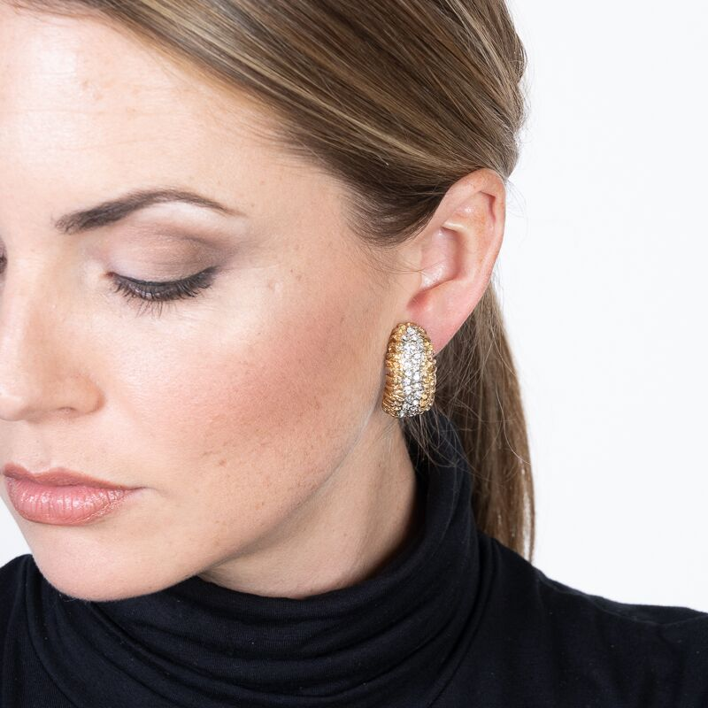 Gold and Crystal Half Hoop Clip Earrings