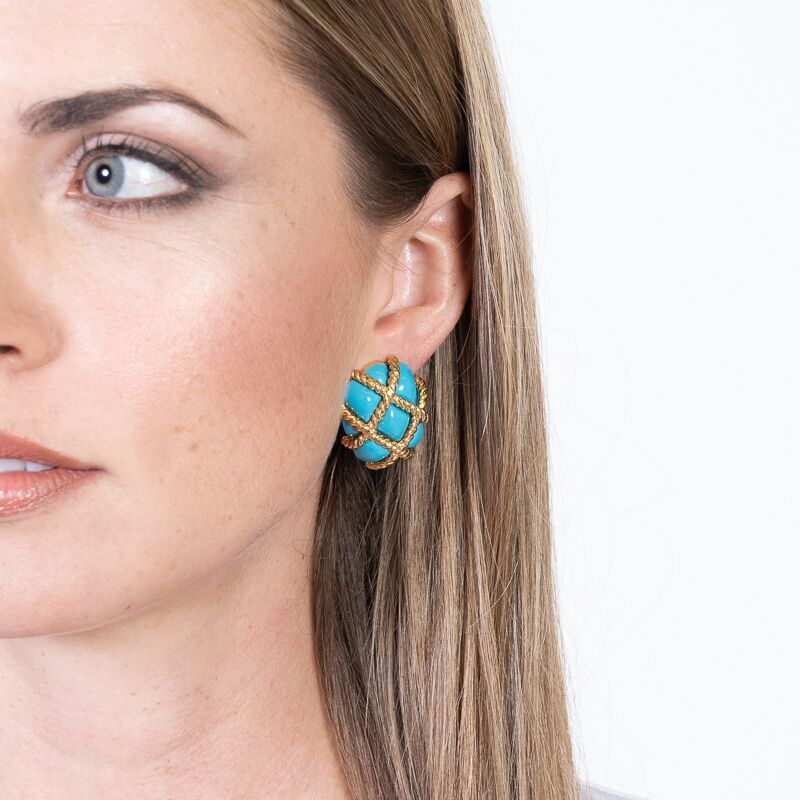 Gold Trim Turquoise Quilted Clip Earrings