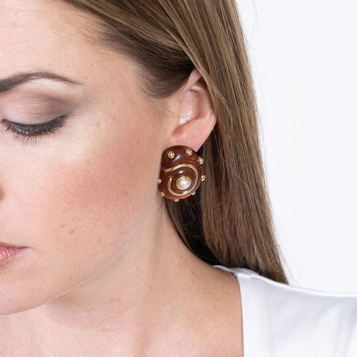 Tortoise with Gold Dots and Pearl Center Shell Clip Earrings
