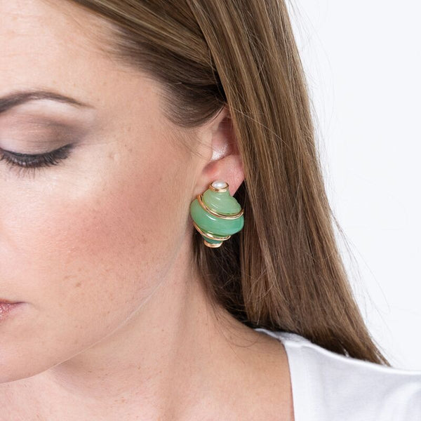Jade Shell With Pearl Tip Clip Earrings