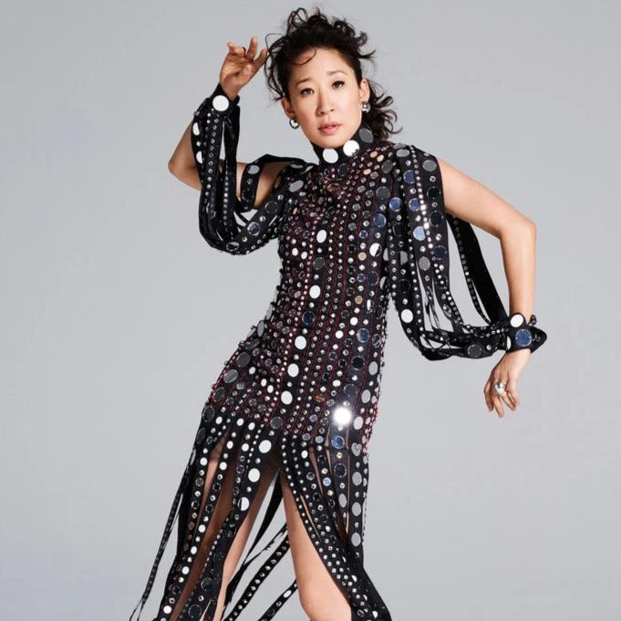 Sandra Oh in Polished Silver Button Clip Earrings