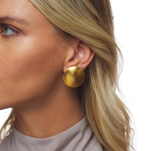 Satin Gold Dapped Round Button Clip Earring