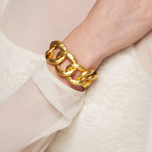 Satin Gold Hammered Link Bracelet