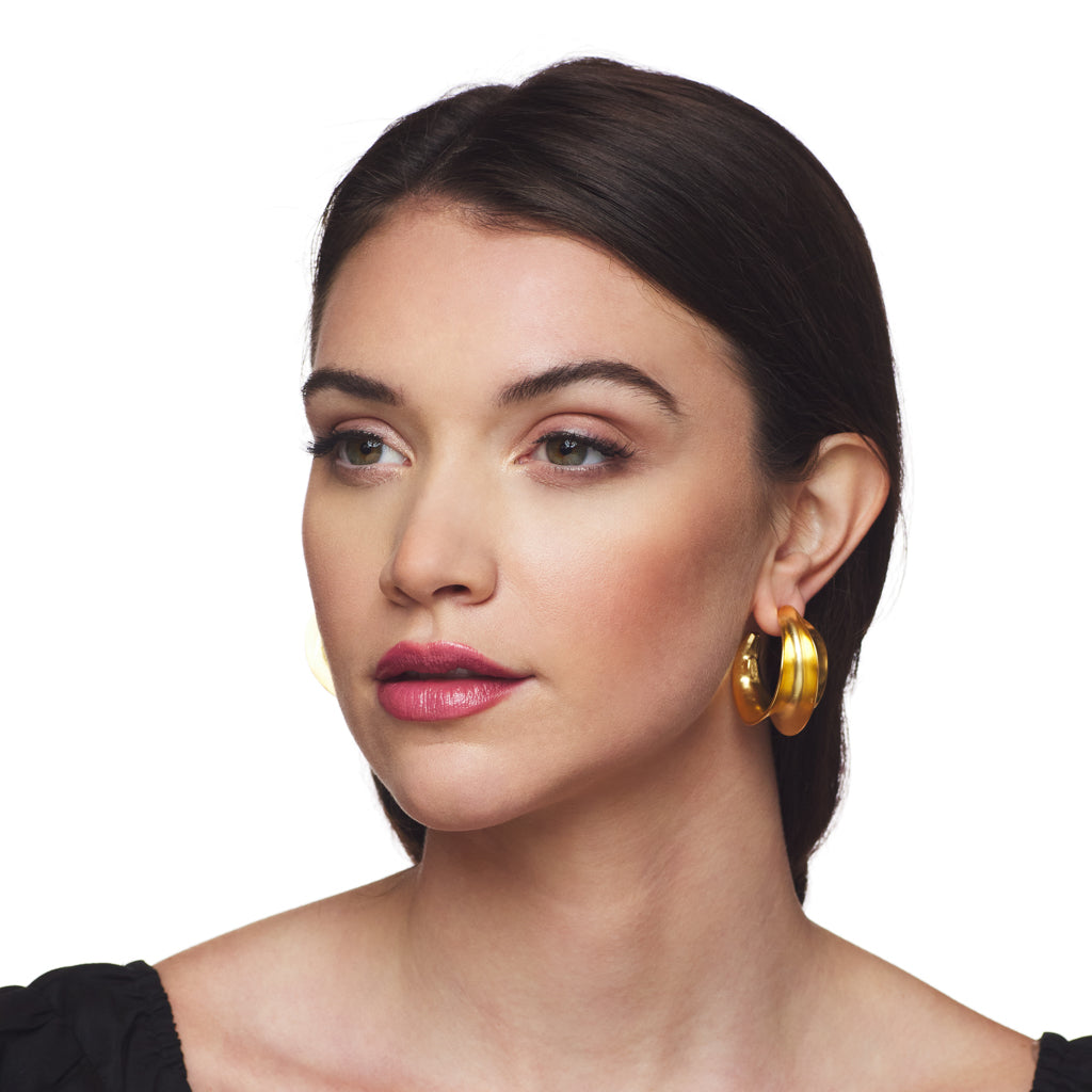 Satin Gold Sculpted Hoop Clip Earring
