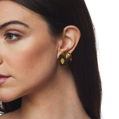 Satin Gold Small Domed Button Clip Earrings
