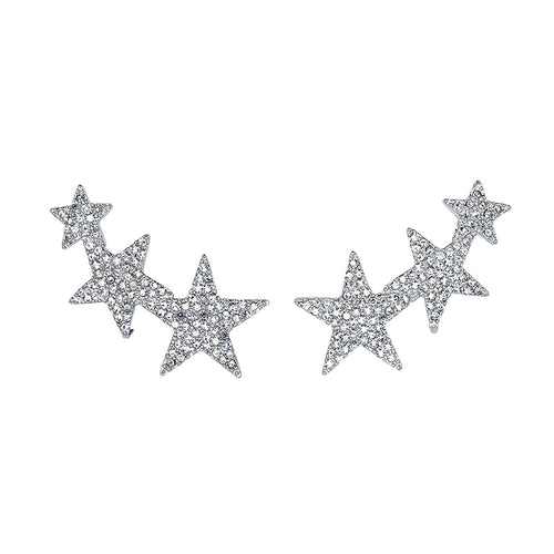 Rhodium Crystal Three Star Clip Earrings