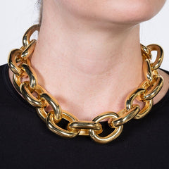 "18"" Polished Gold Medium Link Adjust Neck"