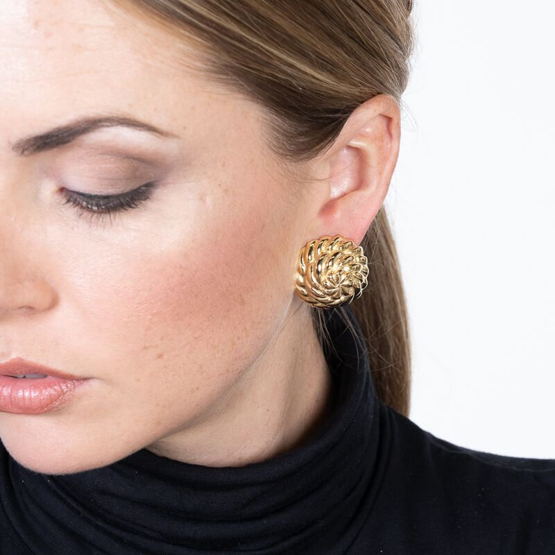Domed Button Clip Earrings