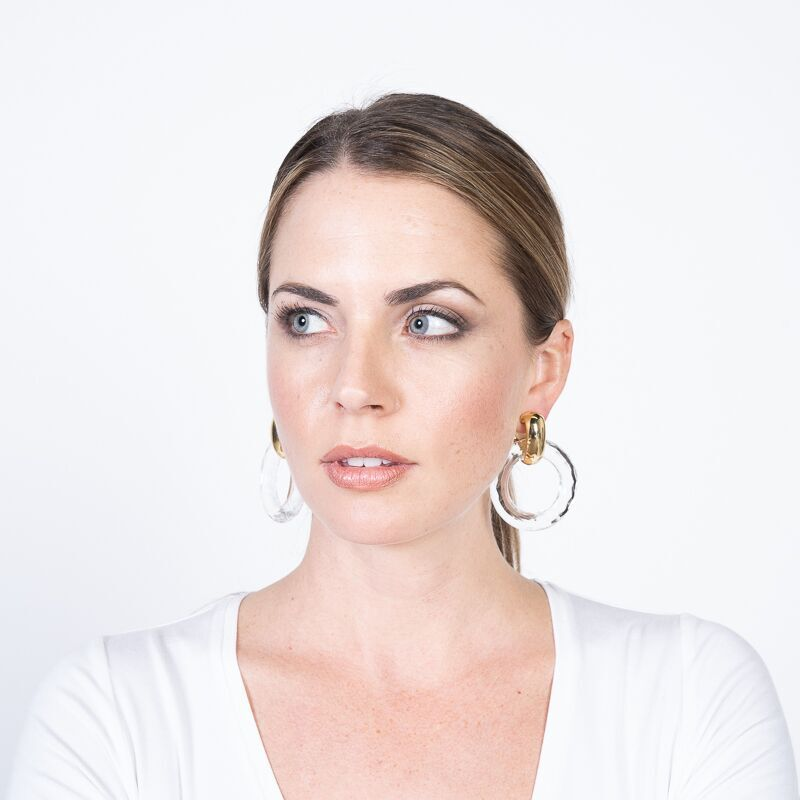 The Knot/Summer 2019 - Clear Open Ring Drop Clip Earrings