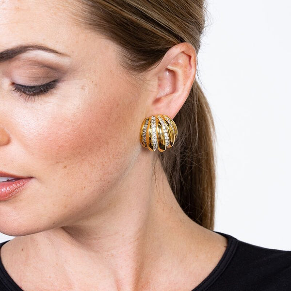 Gold and Rhinestone Domed Clip Earrings