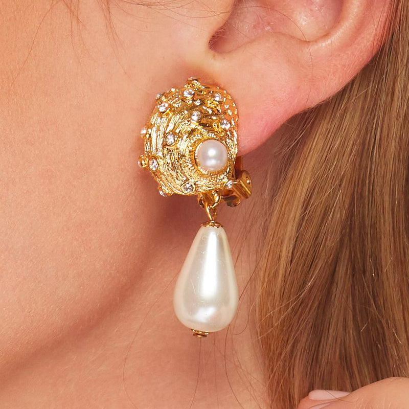 Satin Gold Pearl Drop Seashell Clip Earring