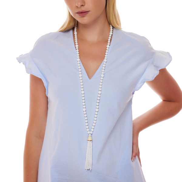 "36"" White Glass Bead Tassel Necklace"