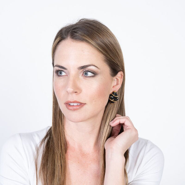 Black Shell with Gold Dots Clip Earrings