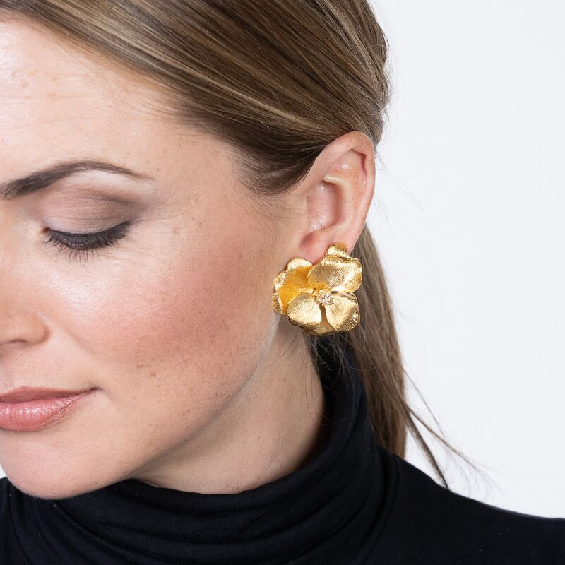 Satin Gold Cluster Crystal Center Flower Clip Earrings