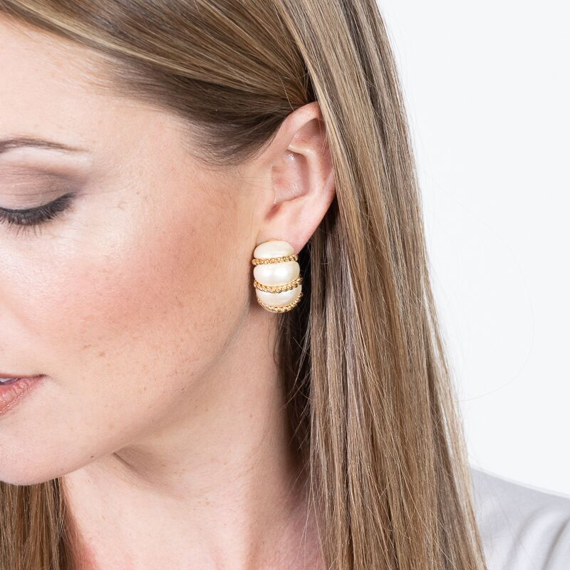 Pearl Resin Gold Wire Wrapped Clip Earrings