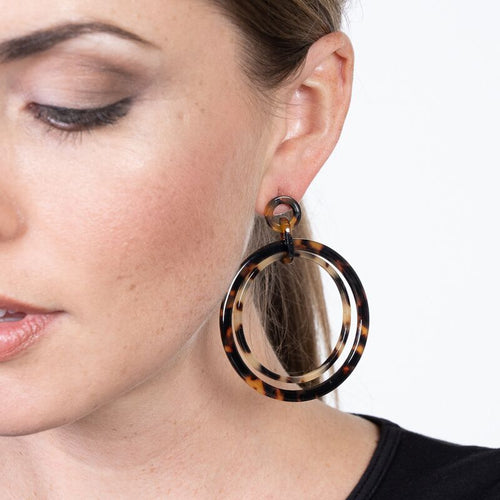 Tortoise Double Hoop Pierced Earrings