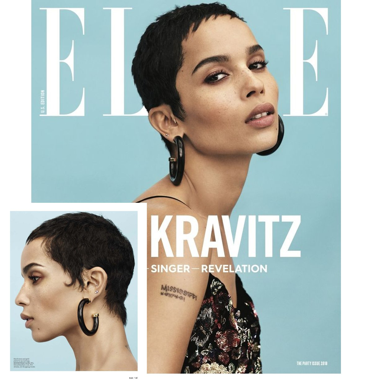 Zoe Kravitz in the Large Polished Gold Ends Hoop Pierced Earrings