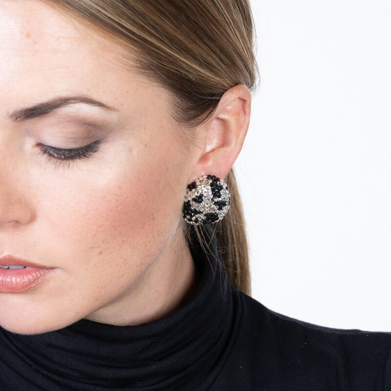 Crystal and Jet Pave Print Button Clip Earrings