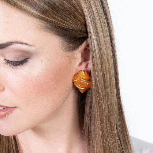 Amber Shell with Gold Dots Clip Earrings