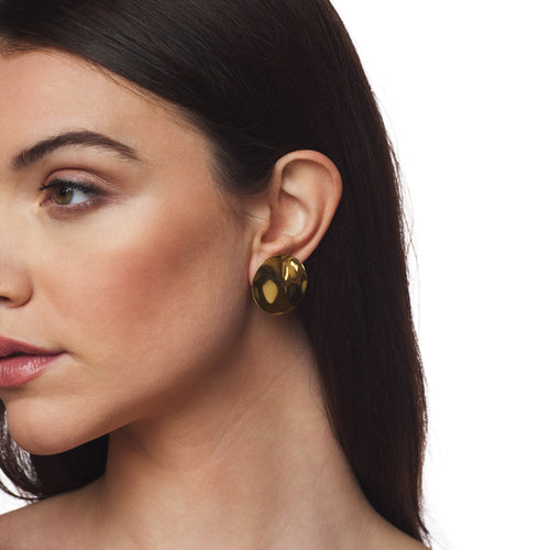 Polished Gold Dapped Round Button Clip Earring