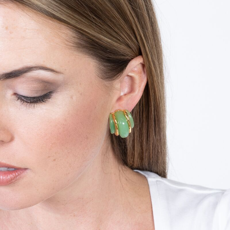 Gold Double Ribbed Jade Domed Hoop Clip Earrings