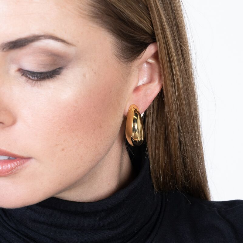 Polished Gold Tapered Half Hoop Clip Earrings