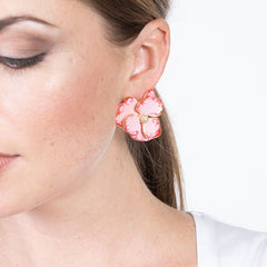 Indian Pink Flower Pierced Earrings