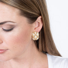 Gold Trim White Pearl Quilted Clip Earrings