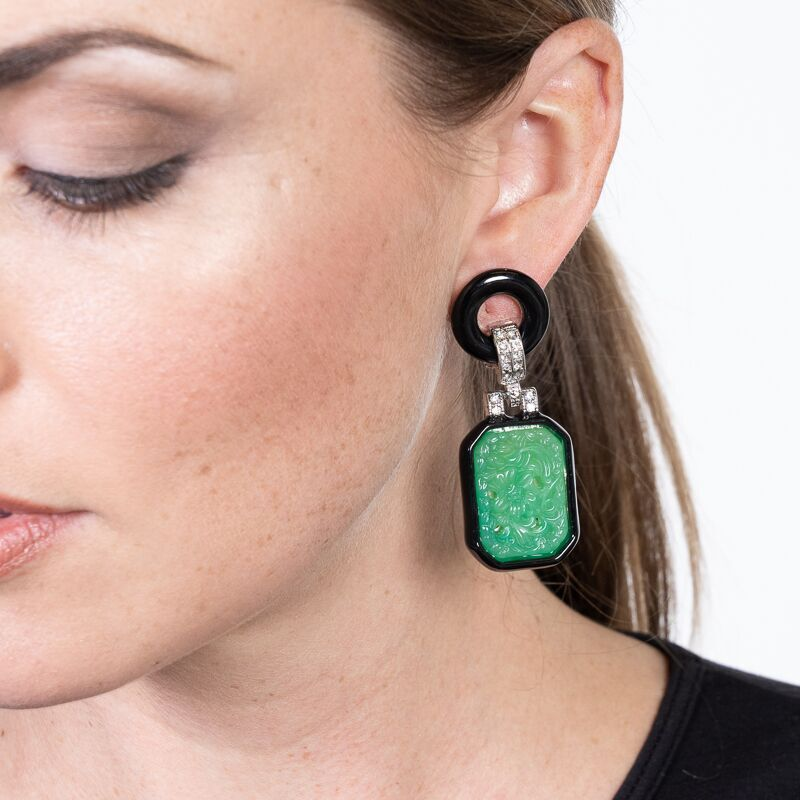 Small Jade and Black Art Deco Drop Clip Earrings