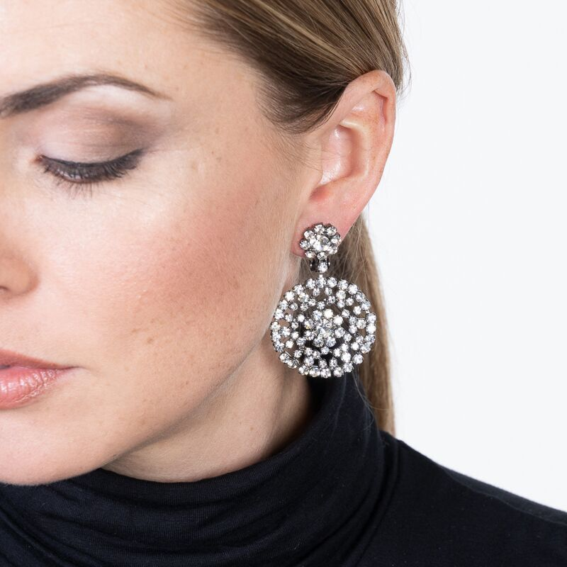 Round Drop Clip Earrings
