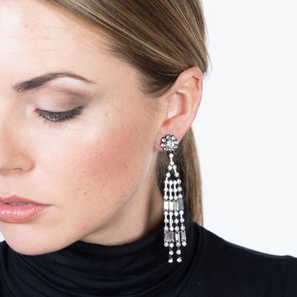 4 Row Clip Earrings with Baguettes