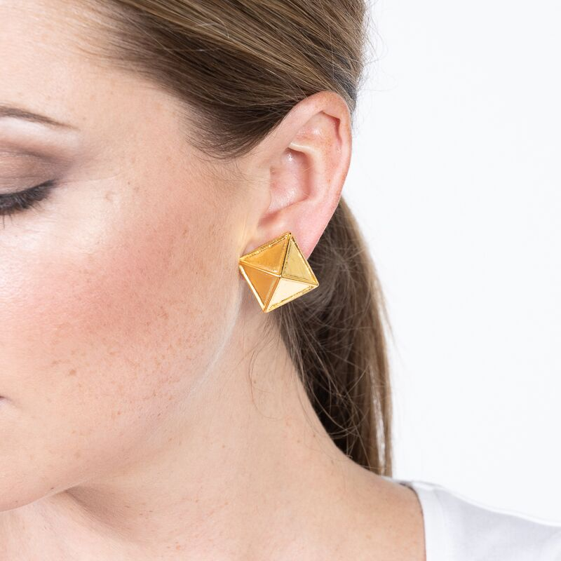 Satin Gold Pyramid Clip Earrings