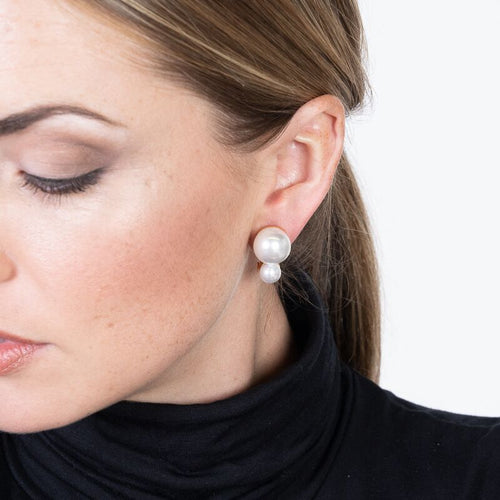 Double Pearl Clip Earrings