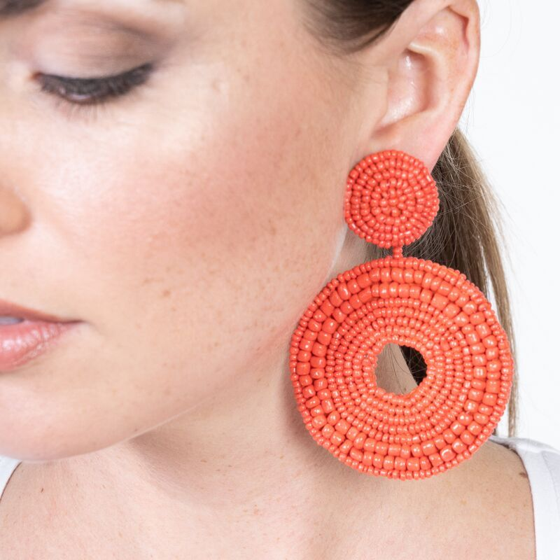 Coral Seedbead Circle Drop Pierced Earrings