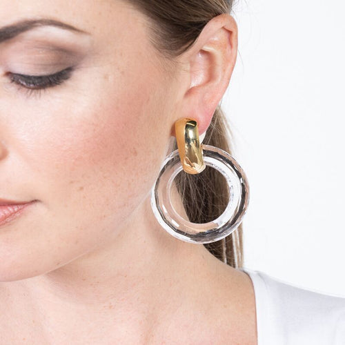Clear Open Ring Drop Clip Earrings