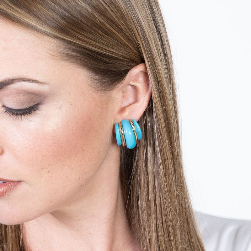 Gold Double Ribbed Turquoise Domed Hoop Clip Earrings