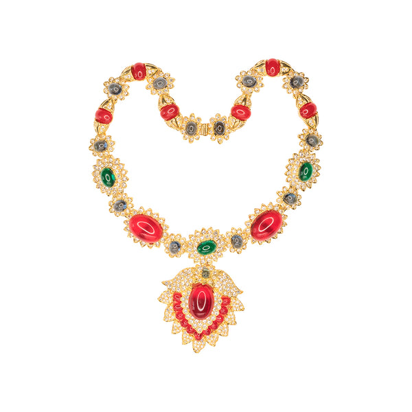 Ruby, Emerald, And Sapphire Necklace