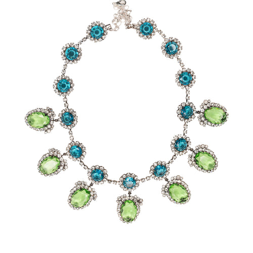 Rihanna in Aquamarine & Peridot Drop Necklace