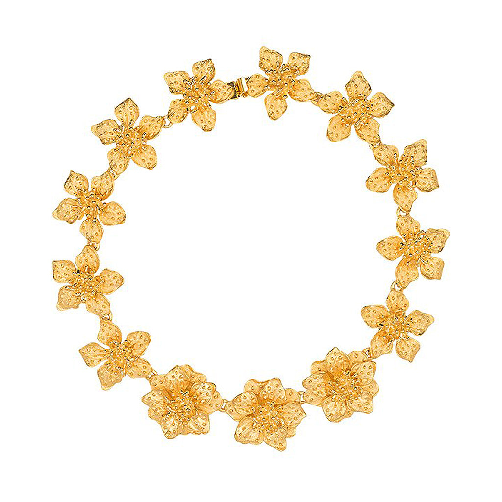 Kenneth Jay Lane Satin Gold Dogwood Flower Necklace Gold QZOql4