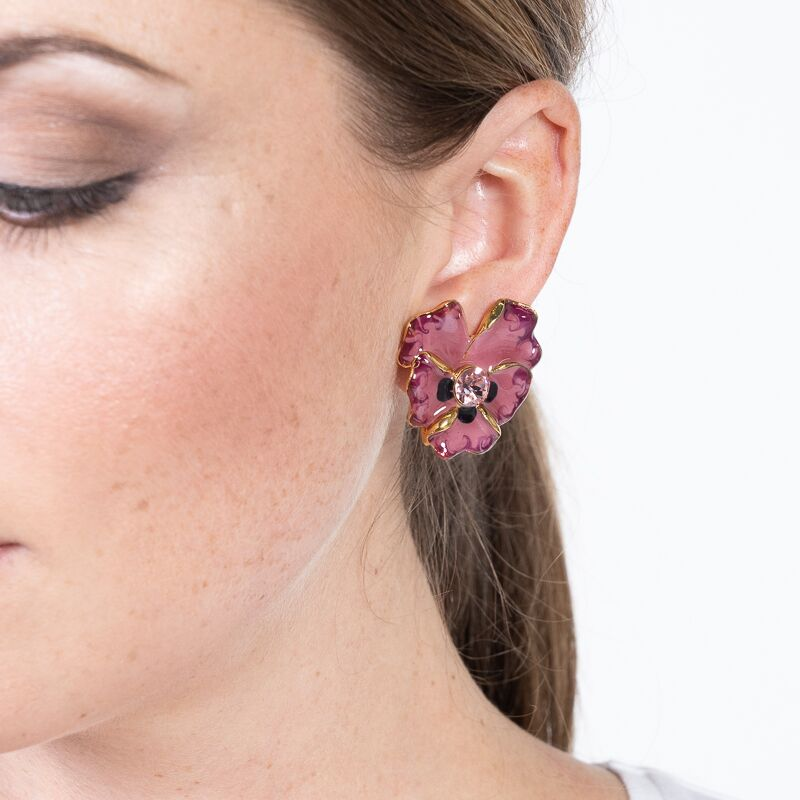 Indian Pink Enamel Flower Clip Earrings
