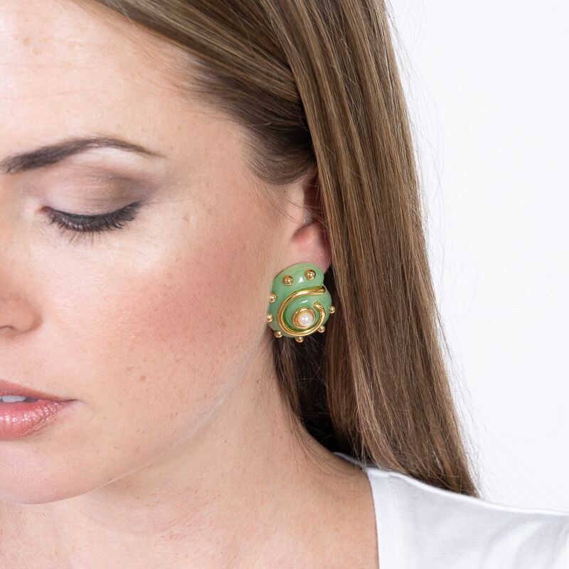 Jade with Gold Dots and Pearl Center Snail Clip Earrings