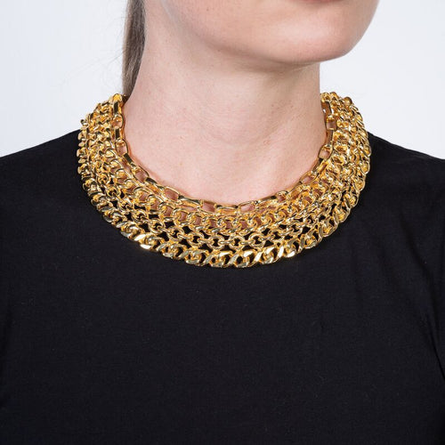 Gold Link Bib Necklace