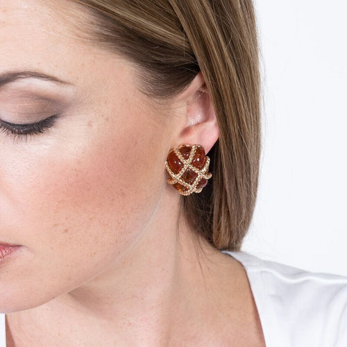 Gold Trim Tortoise Quilted Clip Earrings