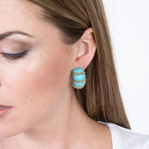 Turquoise Resin Gold Wire Wrapped Clip Earrings