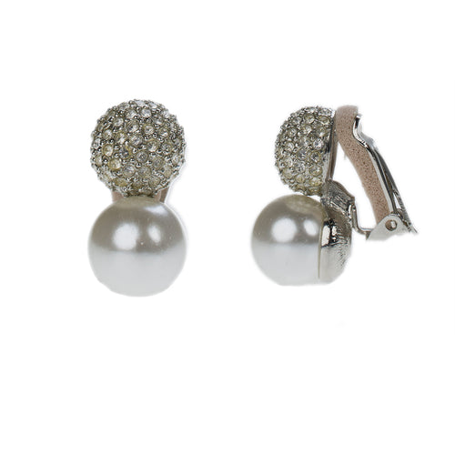 Pave Crystal & Pearl Bottom Pierced or Clip Earrings