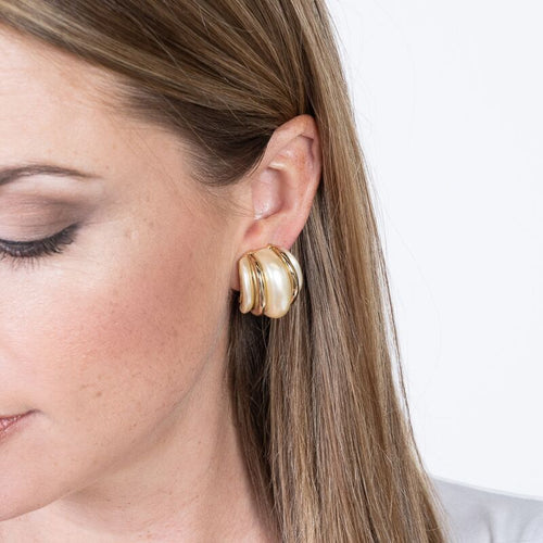 Gold Double Ribbed Pearl Domed Hoop Clip Earrings