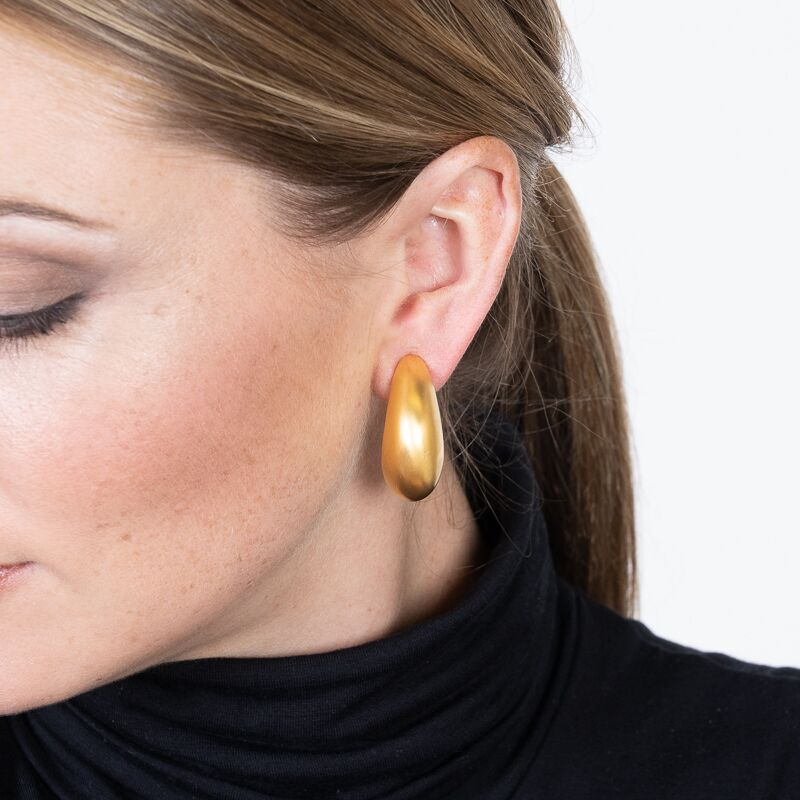 Satin Gold Tapered Half Hoop Clip Earrings