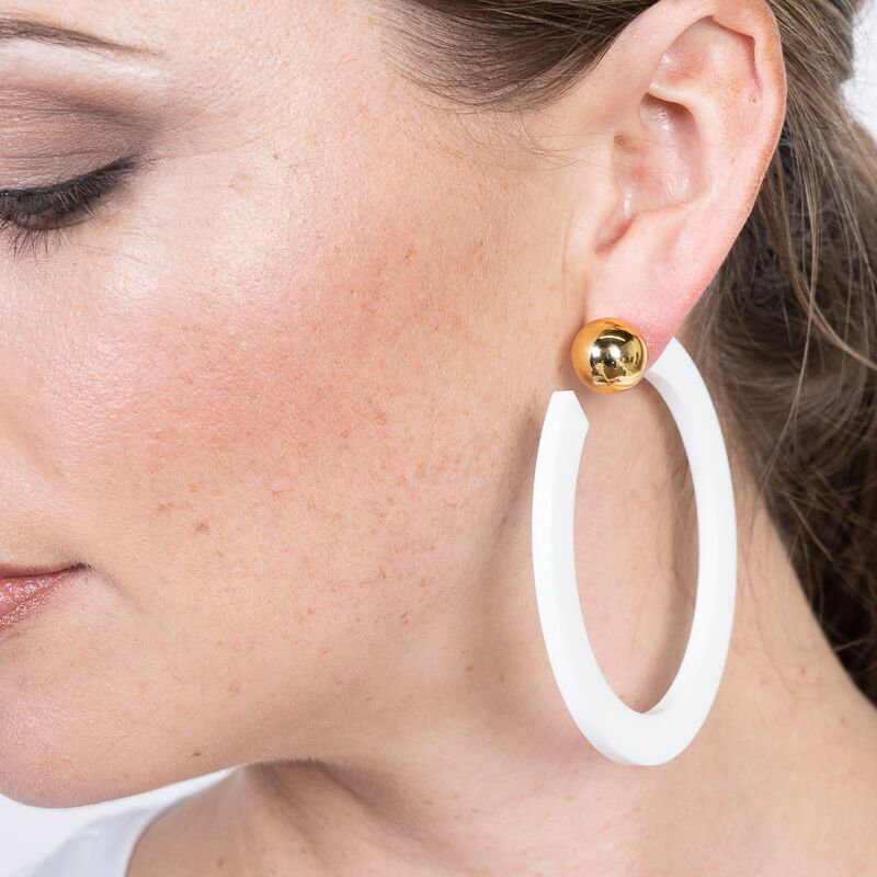 White Resin Hoop with Gold Ball Pierced Earrings