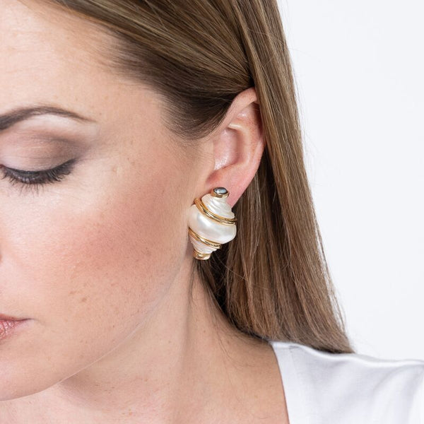 Pearl Shell With Grey Pearl Tip Clip Earrings