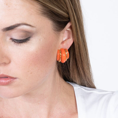 Gold Double Ribbed Coral Domed Hoop Clip Earrings